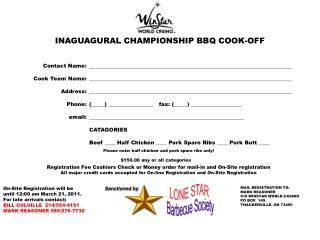 INAGUAGURAL CHAMPIONSHIP BBQ COOK-OFF
