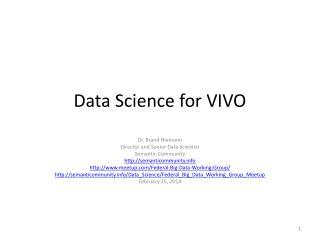 Data Science for VIVO