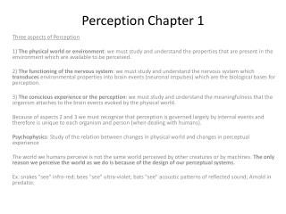 Perception  Chapter 1