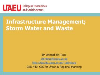 Infrastructure Management;  Storm  Water and  Waste