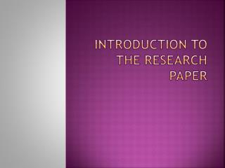 Introduction to the research paper