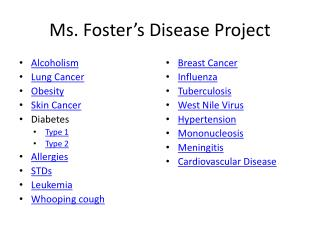 Ms. Foster's Disease Project