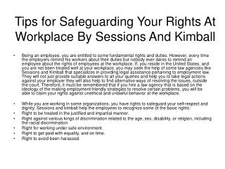 Tips for Safeguarding Your Rights At Workplace By Sessions A