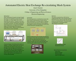 Automated  Electric Heat Exchange Re-circulating Mash System