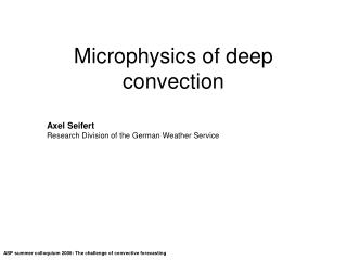Microphysics of deep convection