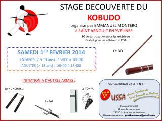 STAGE DECOUVERTE DU  KOBUDO organisé par EMMANUEL  MONTERO à SAINT ARNOULT EN YVELINES