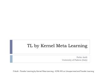 TL  by Kernel Meta Learning