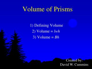 Volume of Prisms