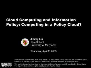 Jimmy Lin The iSchool University of Maryland Thursday, April 2, 2009