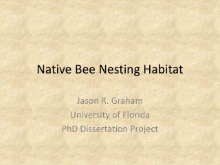 Native Bee Nesting Habitat
