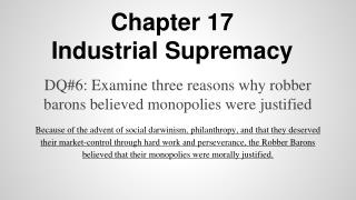 Chapter 17 Industrial Supremacy