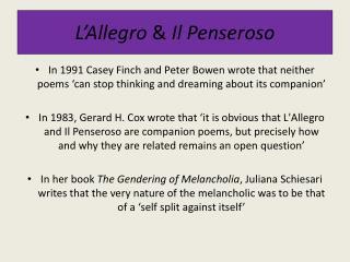 L'Allegro  &  Il  Penseroso