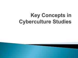 Key Concepts in  Cyberculture Studies