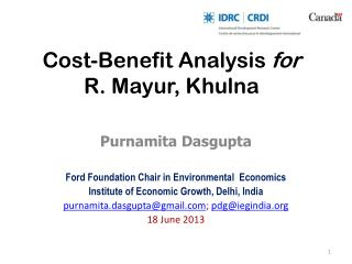 Cost-Benefit Analysis  for R.  Mayur , Khulna