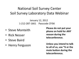 National Soil Survey Center Soil Survey Laboratory Data Webinar