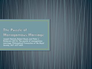 The Puzzle of Monogamous Marriage