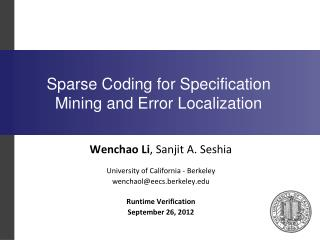 Sparse Coding for Specification Mining and Error Localization
