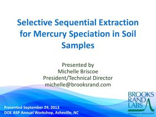 Selective Sequential Extraction for Mercury Speciation in Soil Samples