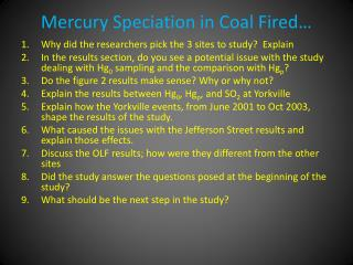 Mercury Speciation in Coal Fired�