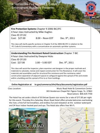 The Tennessee Fire Service & Codes Enforcement Academy Presents