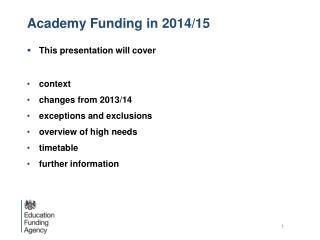 Academy Funding in 2014/15
