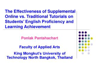 Ponlak Pantahachart Faculty of Applied Arts