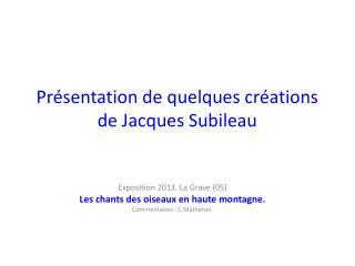 Présentation de quelques créations de Jacques  Subileau