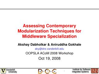 Assessing Contemporary Modularization Techniques for Middleware Specialization