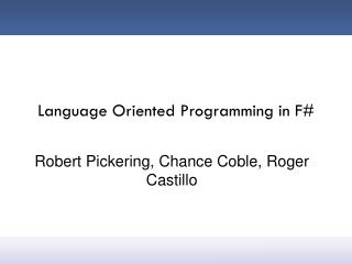 Language Oriented Programming in F#