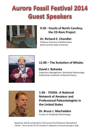 9:30 - Fossils of North Carolina, the CD-Rom Project Dr. Richard E. Chandler