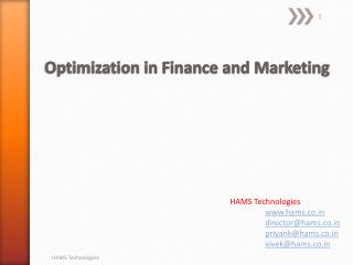 Optimization in Finance and Marketing