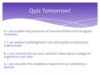 Quiz Tomorrow!