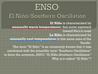 ENSO :  El Niño/Southern Oscillation