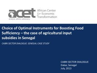 Choice of Optimal Instruments for Boosting Food Sufficiency – the case of agricultural input