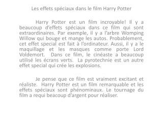 Les  effets spéciaux dans  le film Harry  Potter