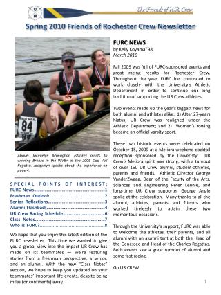 FURC NEWS by Kelly Koyama  '98 March  2010