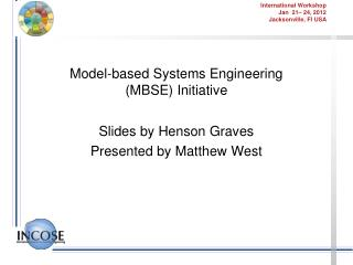 Model-based Systems Engineering (MBSE) Initiative
