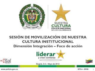 SESIÓN DE MOVILIZACIÓN DE NUESTRA CULTURA INSTITUCIONAL Dimensión Integración – Foco de acción