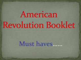 American Revolution Booklet