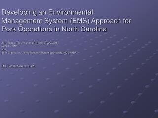 Developing an Environmental Management System EMS Approach for ...