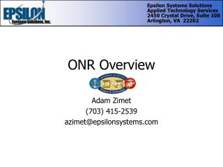 ONR Overview