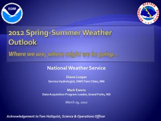 2012 Spring-Summer Weather  Outlook Where we are, where might we be going…