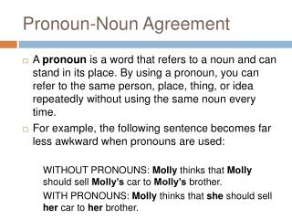 Pronoun-Noun Agreement