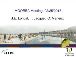 MOOREA Meeting, 02/25/2013 J.E.  Lorival , T.  Jacquet , C.  Maneux
