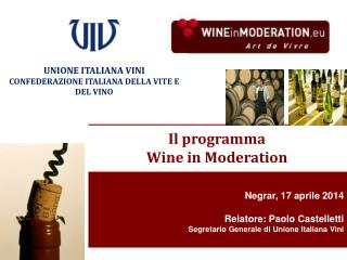 Negrar, 17 aprile 2014 Relatore: Paolo Castelletti Segretario Generale di Unione Italiana Vini