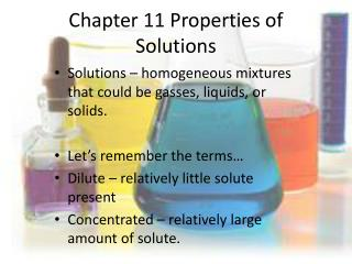 Chapter 11 Properties of Solutions