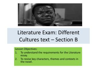 Literature Exam: Different Cultures text – Section B