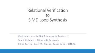Relational Verification to SIMD Loop Synthesis
