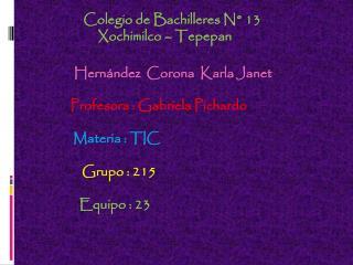 Colegio de Bachilleres N° 13     Xochimilco –  Tepepan