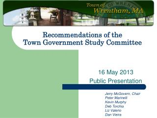 Recommendations of the Town Government Study Committee